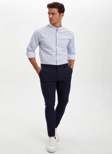 DeFacto Hakim Yaka Uzun Kol Slim Fit Gömlek Mavi
